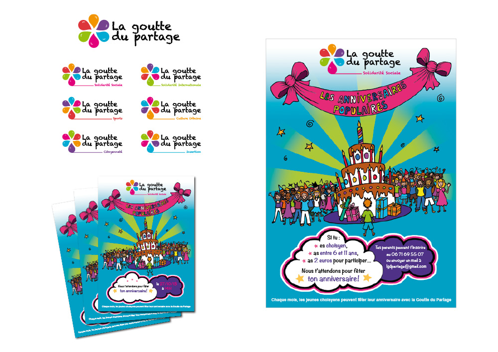 book Logo Affiches Flyers Goutte du Partage